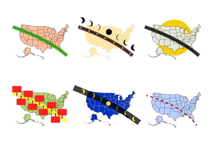 US Solar Eclipse Path Map Vector