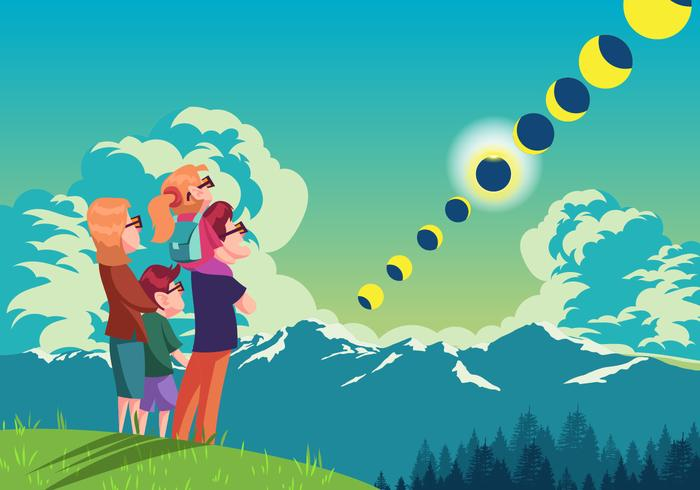 Watching A Solar Eclipse Together Vector