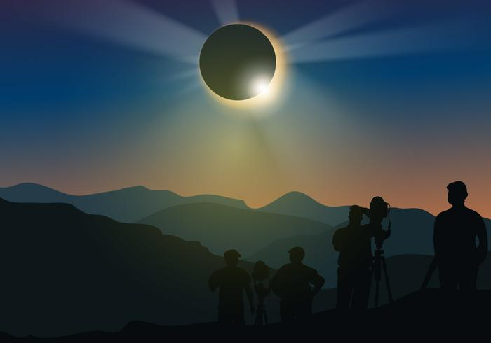 People Watch Solar Eclipse Download Free Vector Art