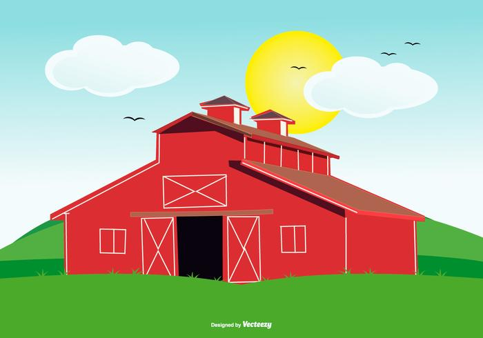 Cute Red Barn Illustration on Landscape