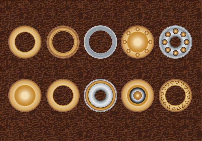 Set Eyelets, Flat Washer e Grommets em um fundo de couro