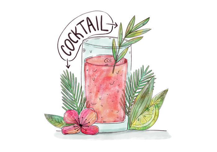 Watercolor Cocktail With Palms, Leaves, Flowers And Lime vector