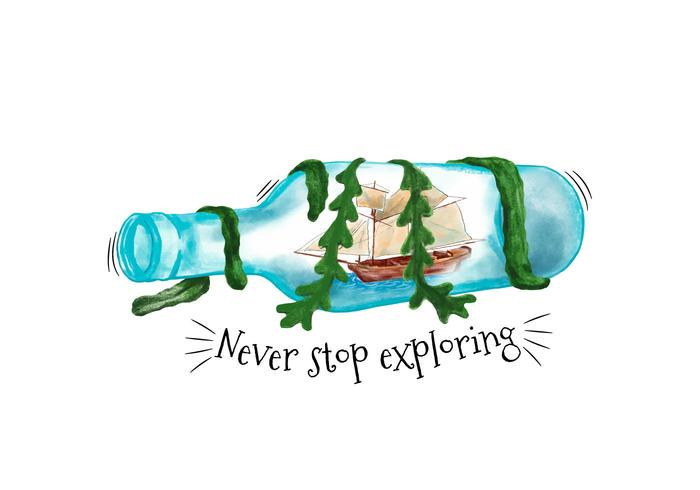 Watercolor Bottle With Ship Inside And Seaweed With Quote