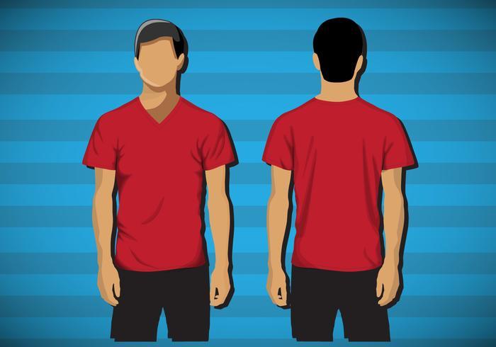 Template shirt v- neck male