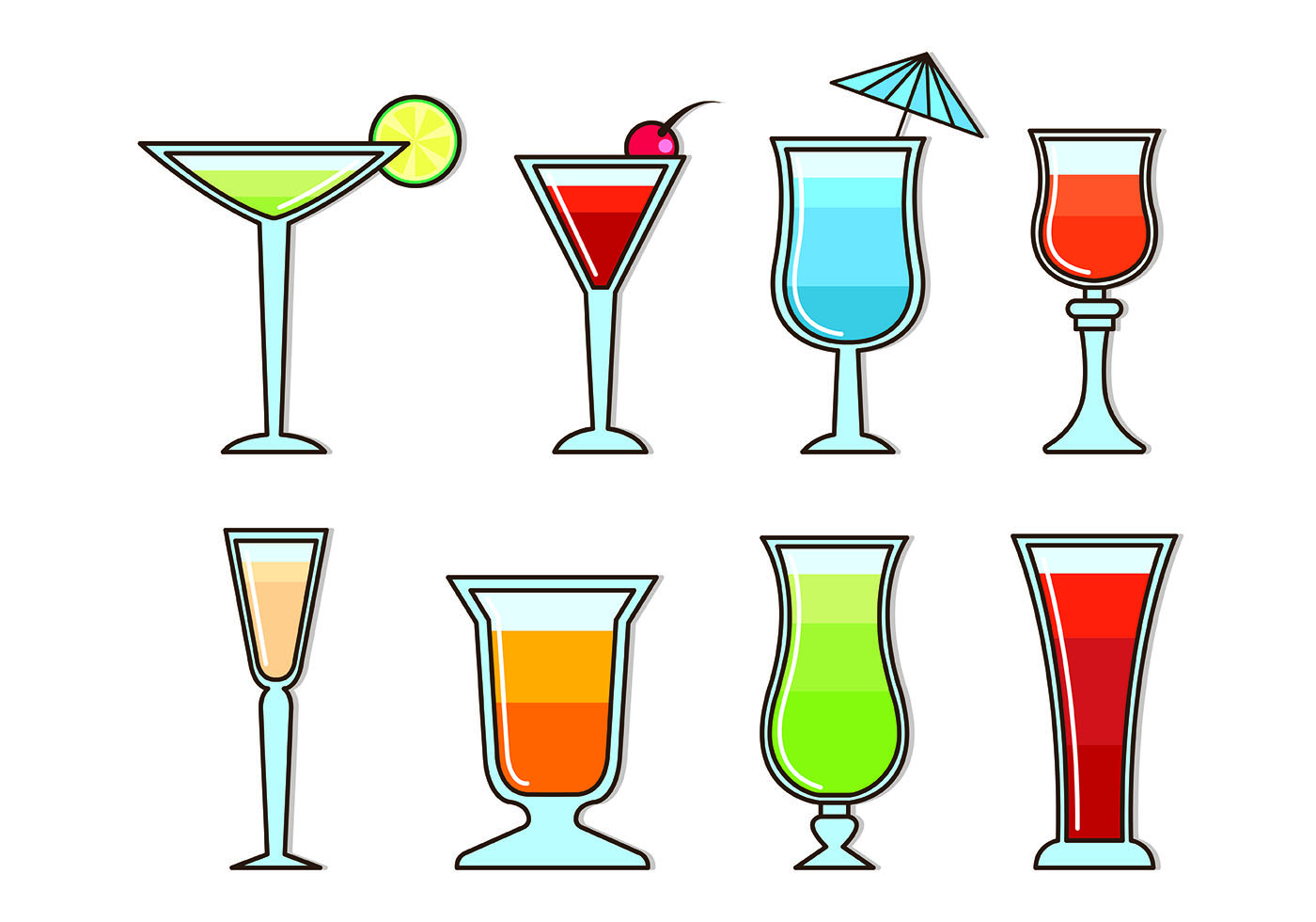 Vectors Glass Of Mocktail Download Free Vector Art