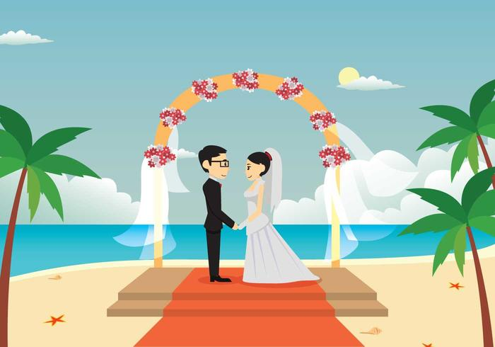Young Couple Wedding On The Beach Illustration