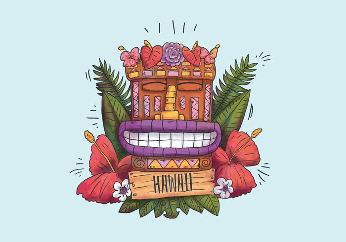 Cute Hawaiian Totem Smiling With Exotics Flowers and Leaves and Wood Sign