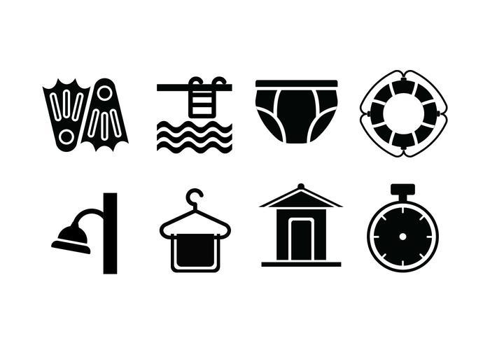 Swimming pool set icons