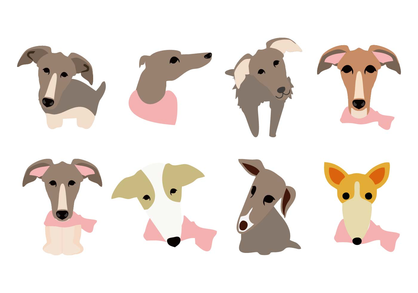 free whippet dog face icons vector download free vector