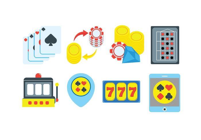 Gambling icons set vector
