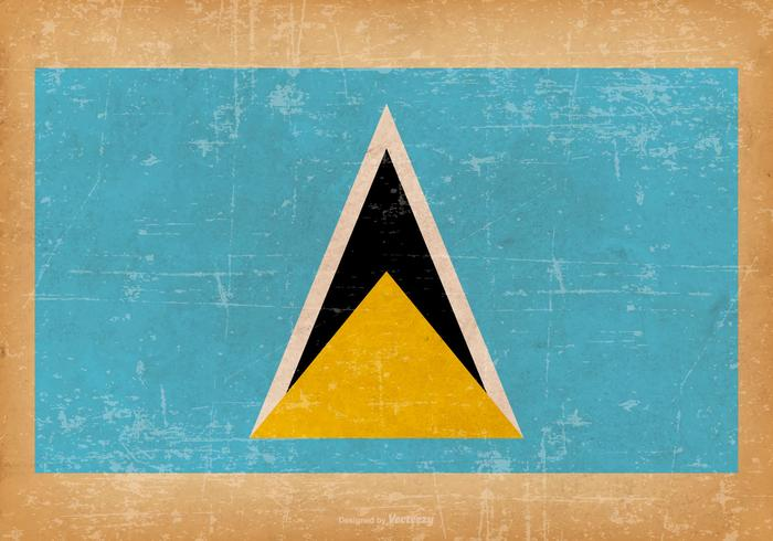 Grunge Vlag van Saint Lucia