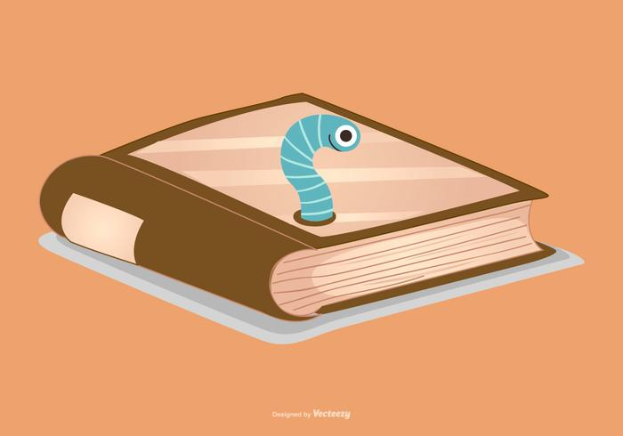 Cute Book with Worm Illustration