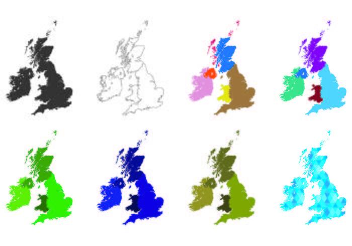 Vetores do mapa das ilhas britânicas