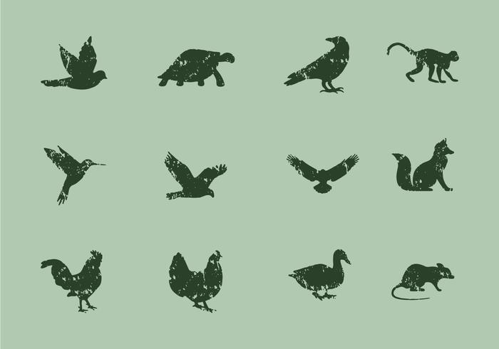 Animal Icons With Lithograph Style