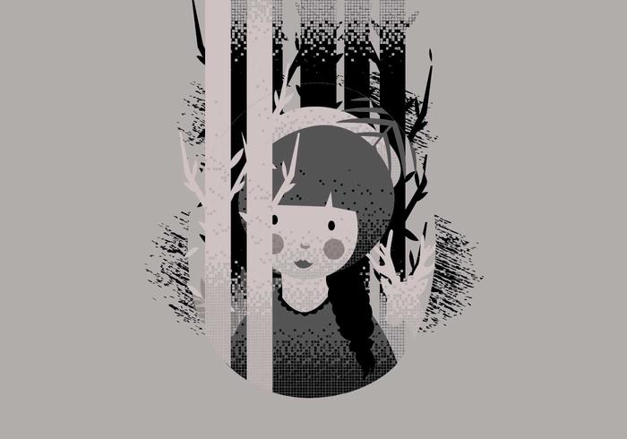 Girl in Lithograph Style Vector