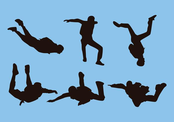 Skydiving Silhouette Free Vector