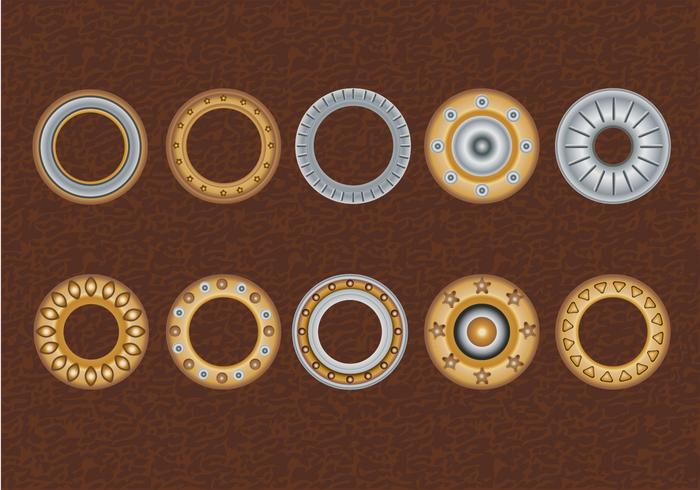 Set Eyelets, Flat Washer and Grommets on an Leather Background