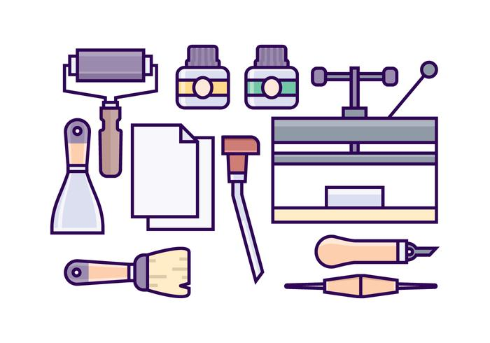 Free Lithograph Equipment Icons vector