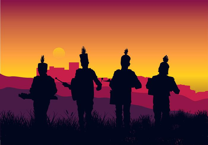 Marching Band Silhouette Country Free Vector