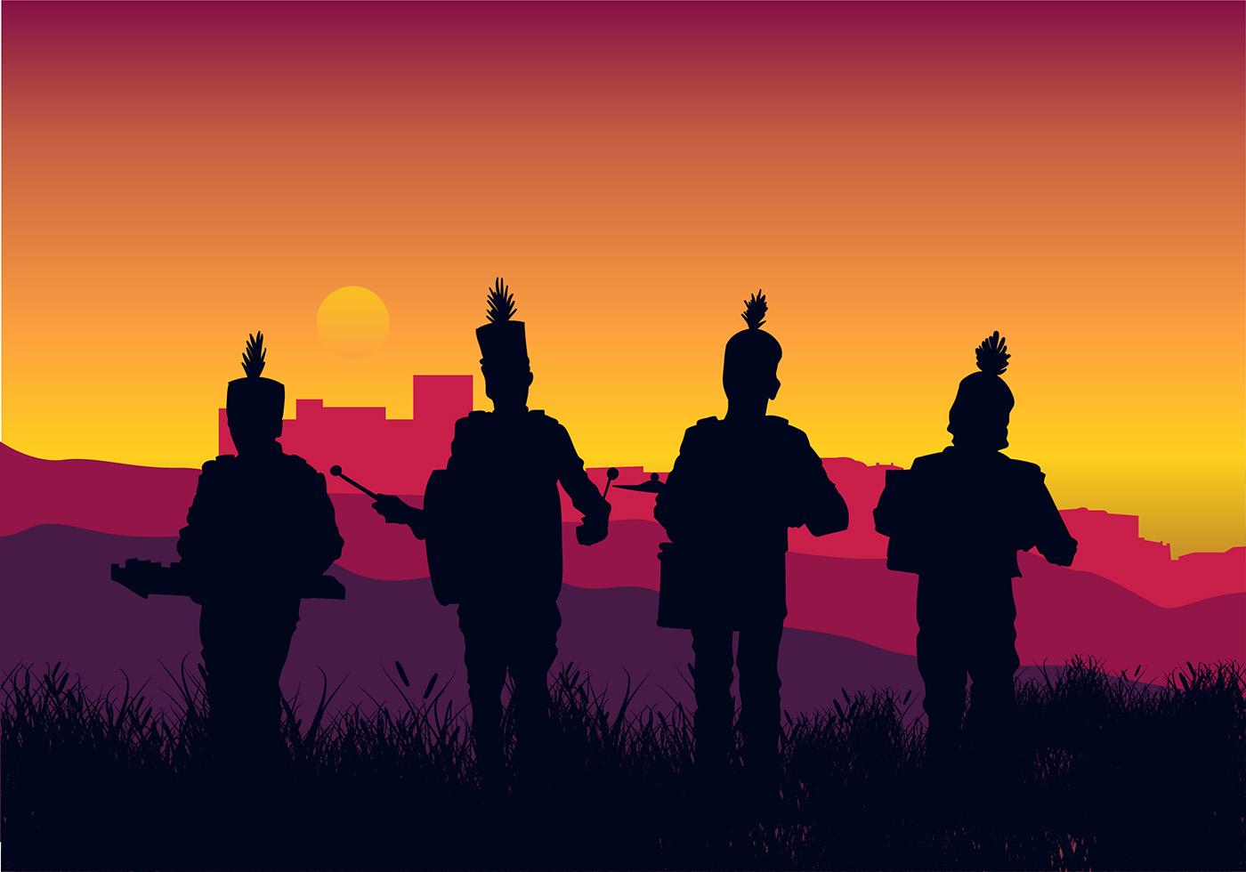 Marching Band Silueta Pa 237 S Libre De Vectores Descargue