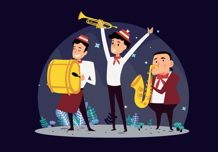 Marching Band Show Cartoon Vector Illustration