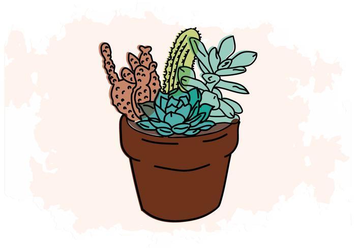 Cactus Litografía Imprimir Vector