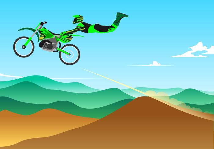 Jumping Style Motocross Free Vector