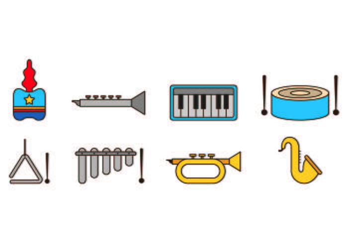 Set Of Marching Band Icons vector