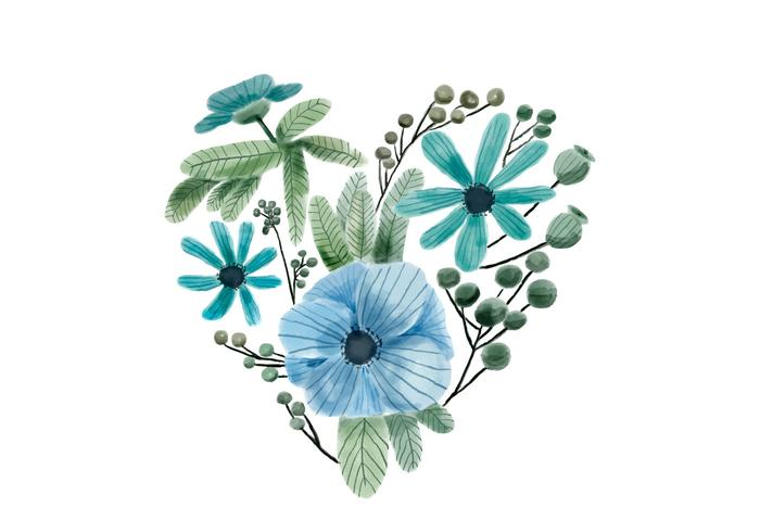 Watercolor Heart Blue and Green Flowers And Leaves