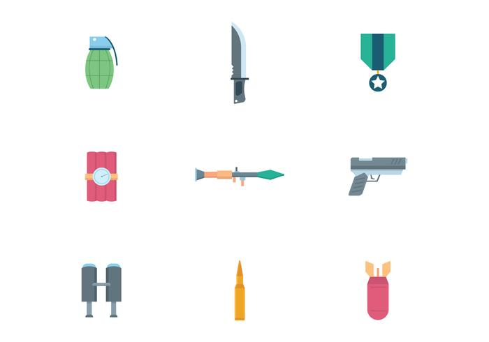 Flat Military Icons vector