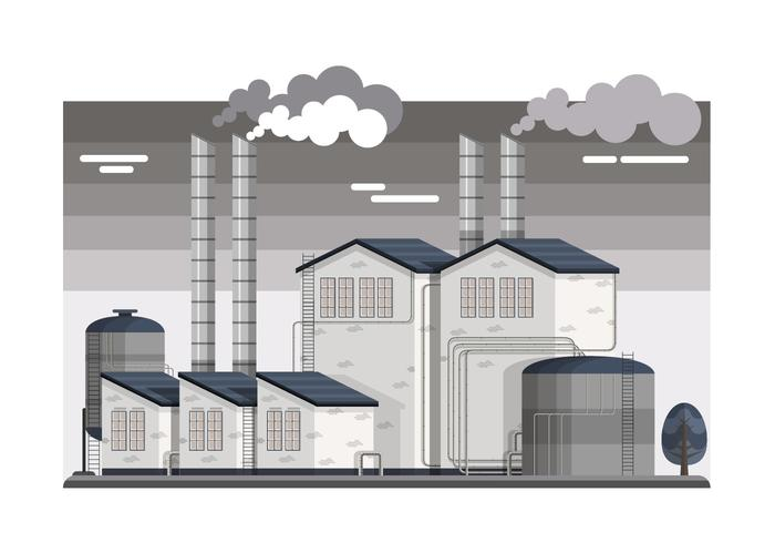 Industrial Smokestacks Vector Illustration