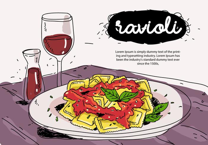 Italiensk mat Ravioli på tallrik Handdragen vektorillustration
