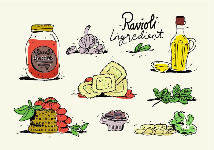 Italian Food Ravioli Ingredients Menu Hand Drawn