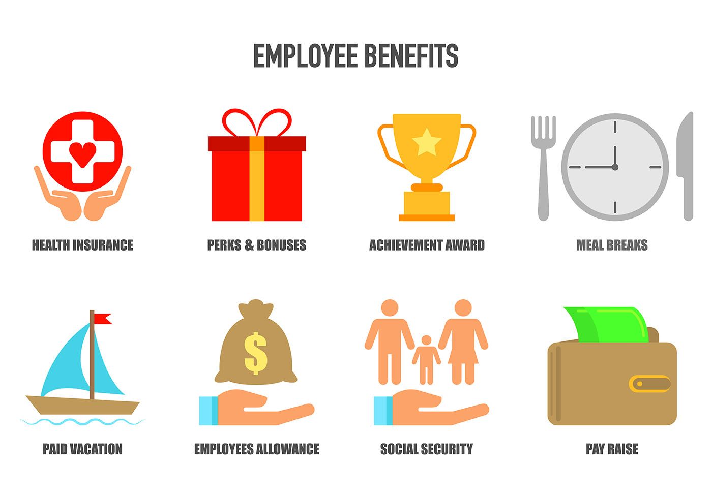 set of employee benefits icons download free vector art