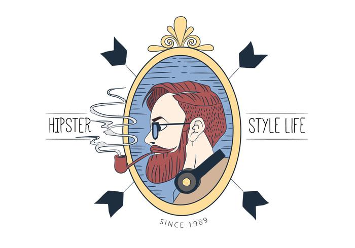Hipster Man With Long Beard Smoking Wearing Glasses With Ribbons