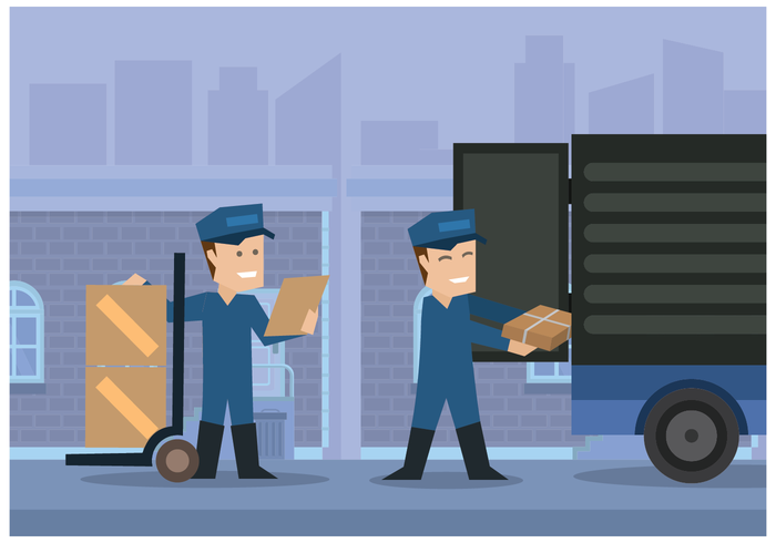 Movers Putting Boxes into Truck Illustration Vector