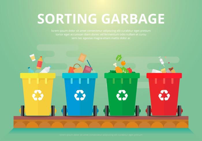 Triagem de lixo, ilustração plana biodegradável