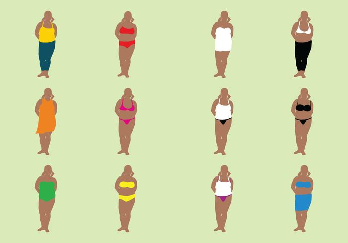 Fat Woman In Bathing Suits vector