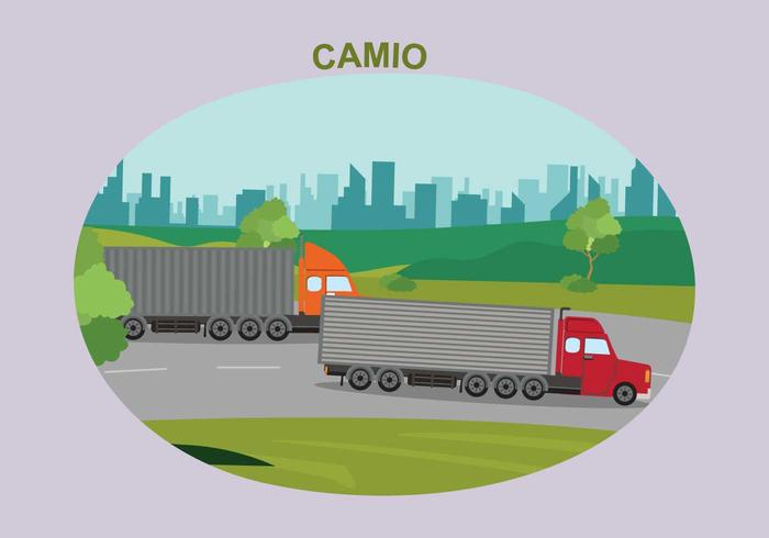 Semi Truck and Cargo Trailer Vector