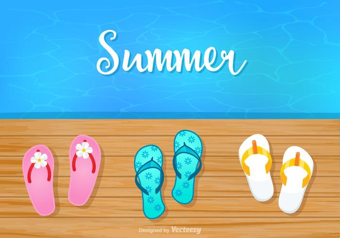 54bc03dc9879c2 Summer Background With Flip Flops On Boardwalk Vector - Download ...