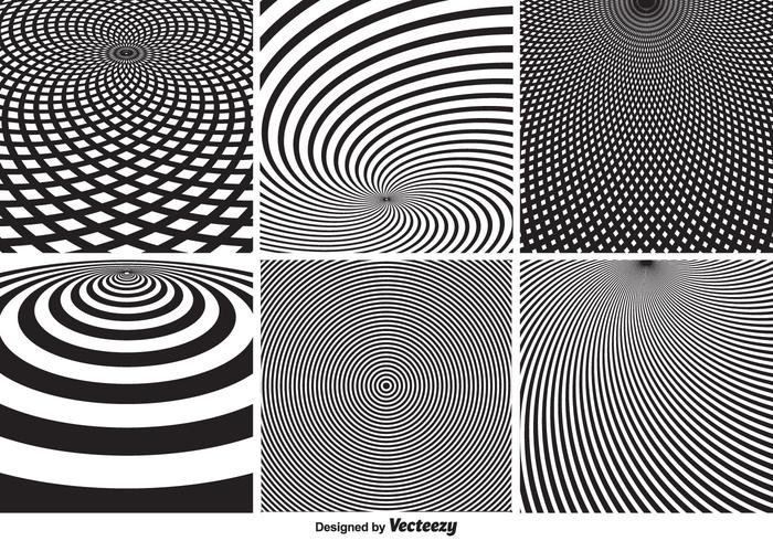 Abstract Monochrome Psychedelic Circular Vector Patterns