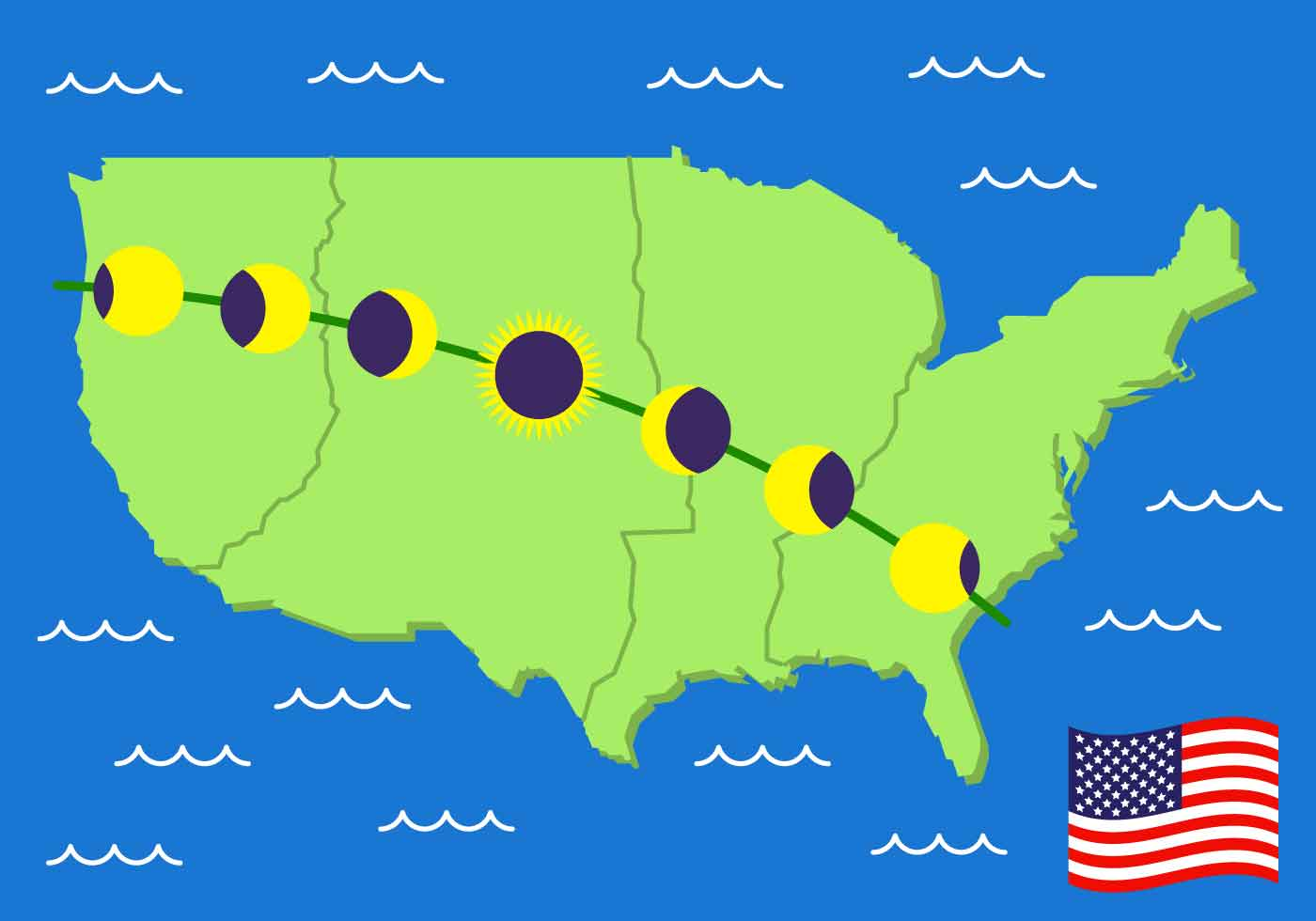 US Solar Eclipse Path Map Vector Download Free Vector Art Stock - Solar map us