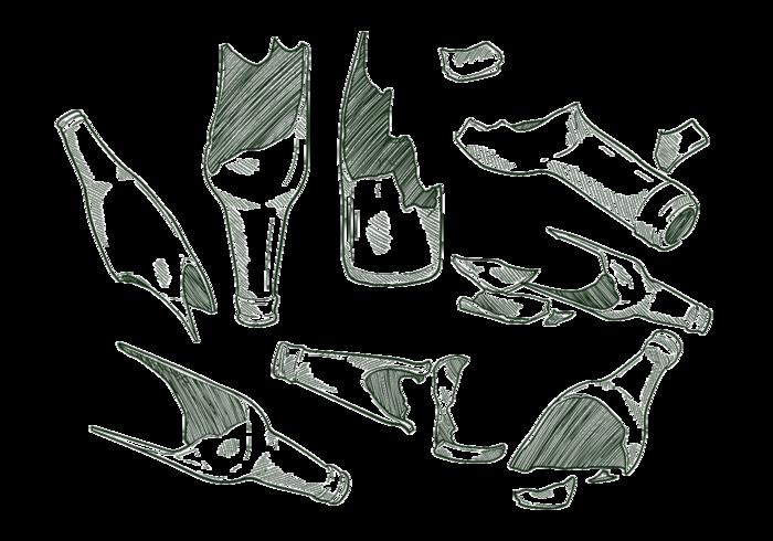 Hand Drawn  Broken Bottle vector