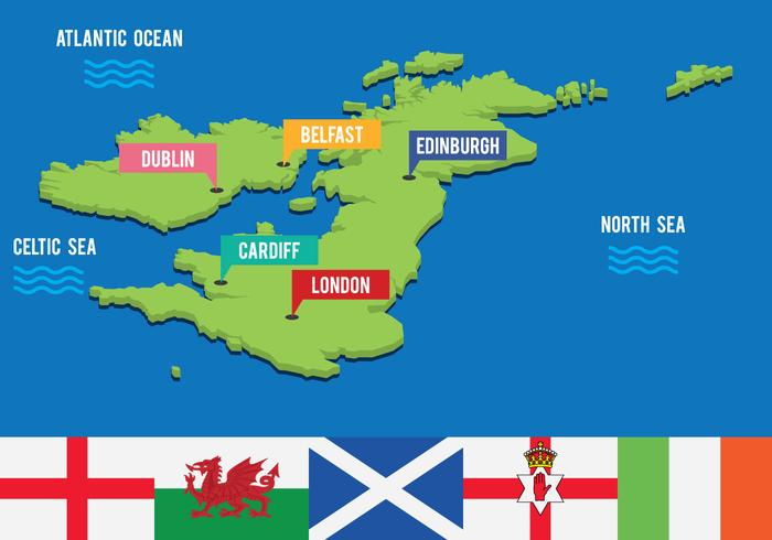 Great Britain and Ireland Touristic 3D Map vector