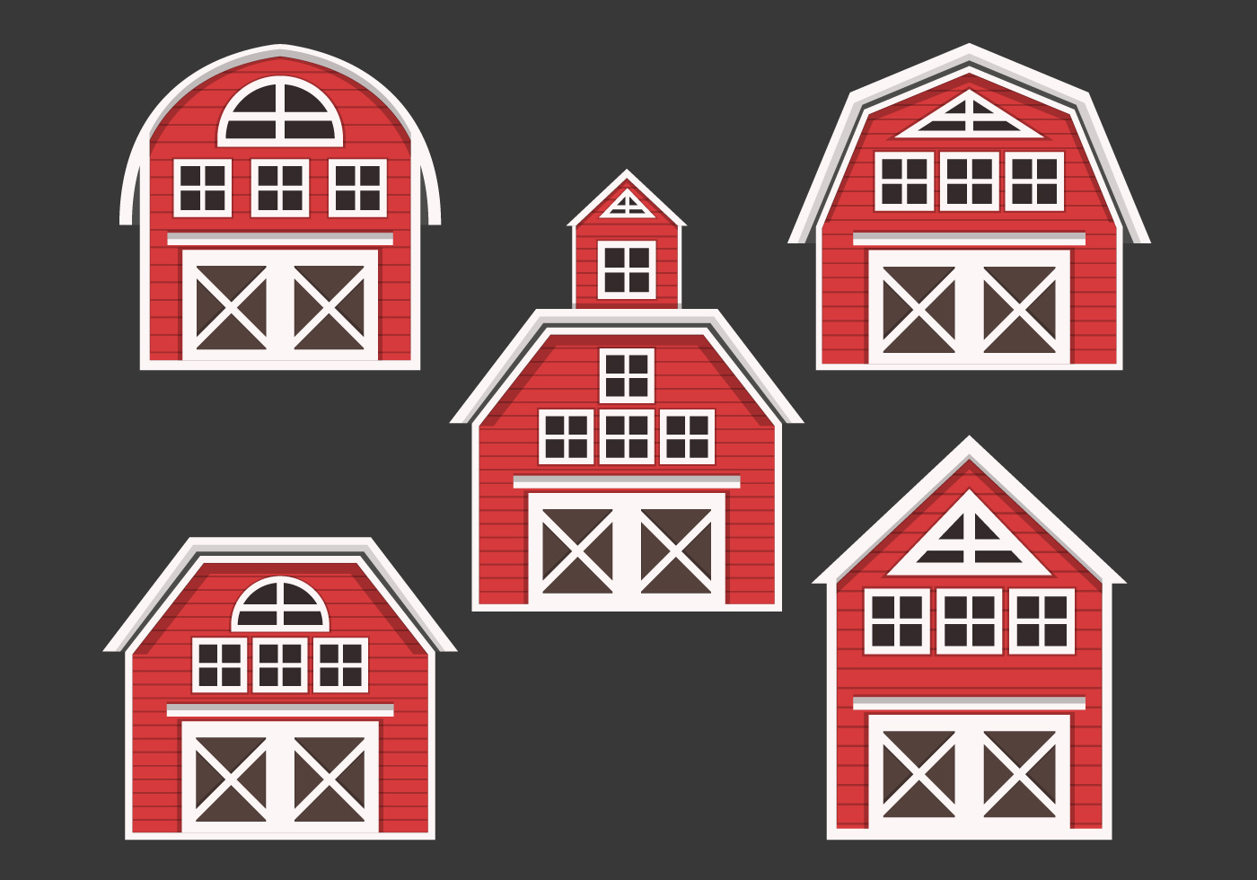 Red Barn Vector Collection Download Free Vector Art