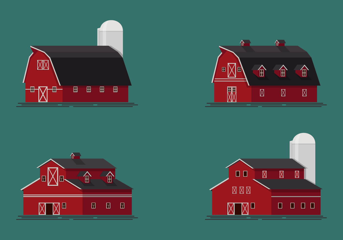 Set Of Red Barn Vector Illustration Download Free