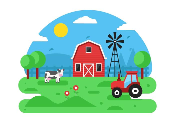 Free Farm Scene Vector Background