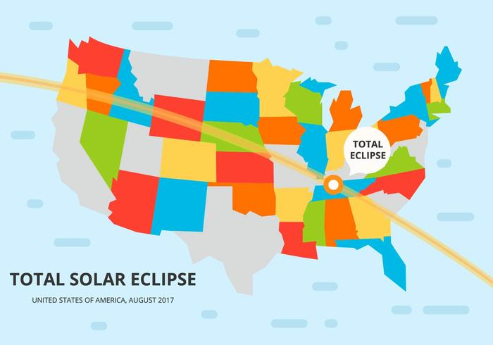 Free Colorful US Solar Eclipse Path Map Vector Download Free - Us solar map