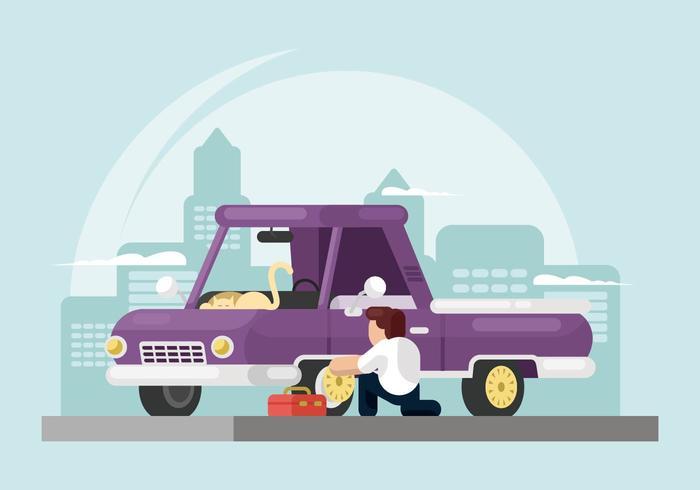 Man Vervanging Hubcap Illustratie