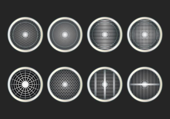 Altavoz Grill Icon Set Vector
